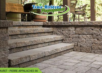 marches d'escalier et muret de pierre